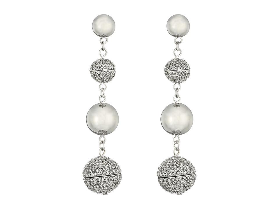 Rebecca Minkoff - Statement Sphere Drop Pave Earrings (Silver) Earring