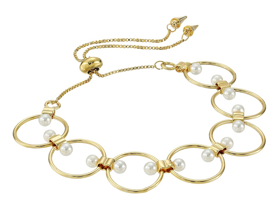 Rebecca Minkoff - Encircled Floating Pearls Pulley Bracelet (Gold/Pearl) Bracelet
