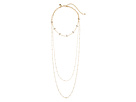 Rebecca Minkoff Pearl and Stone Multi Layer Chain Necklace