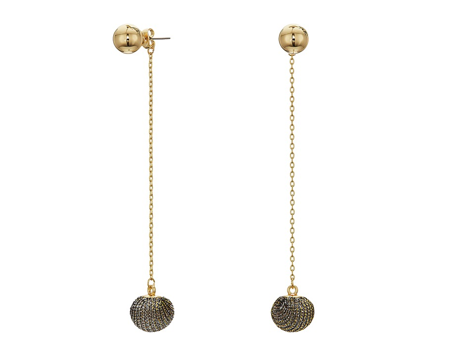 Rebecca Minkoff - High Shine Pompom Threader Earrings (Gold) Earring