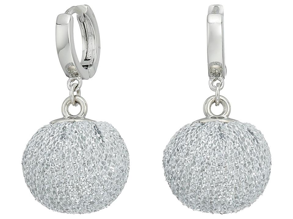 Rebecca Minkoff - High Shine Pompom Huggie Earrings (Silver) Earring