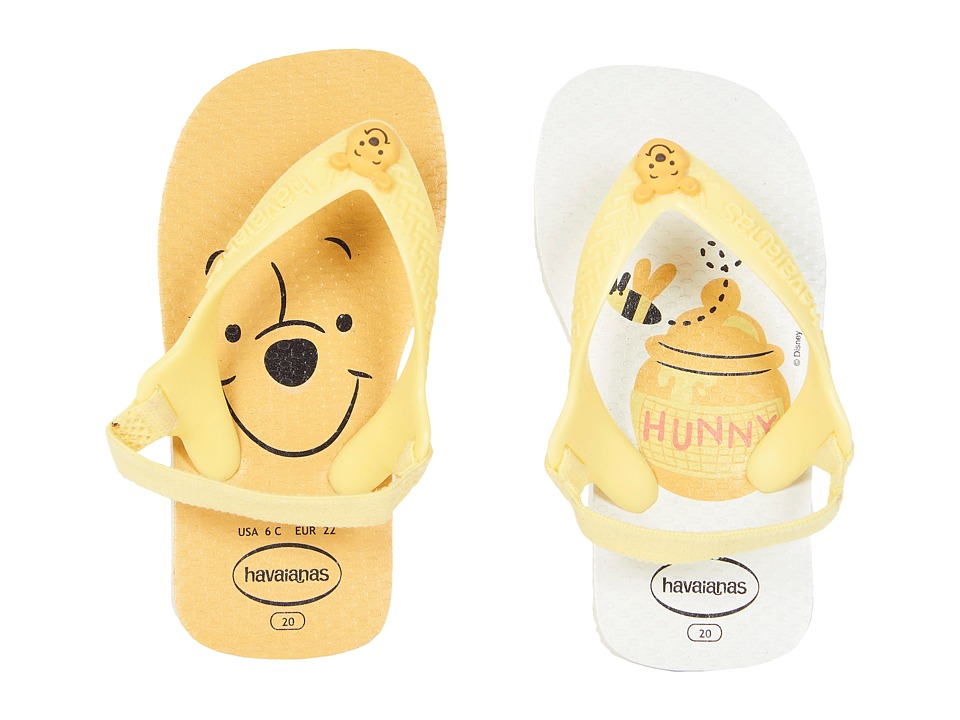 Havaianas Kids - Baby Disney Classics Flip-Flop (Toddler) (White/Pollen Yellow) Kids Shoes