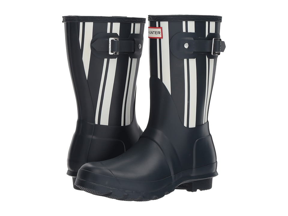 Hunter Original Garden Stripe Short Rain Boots (Navy/White) Women