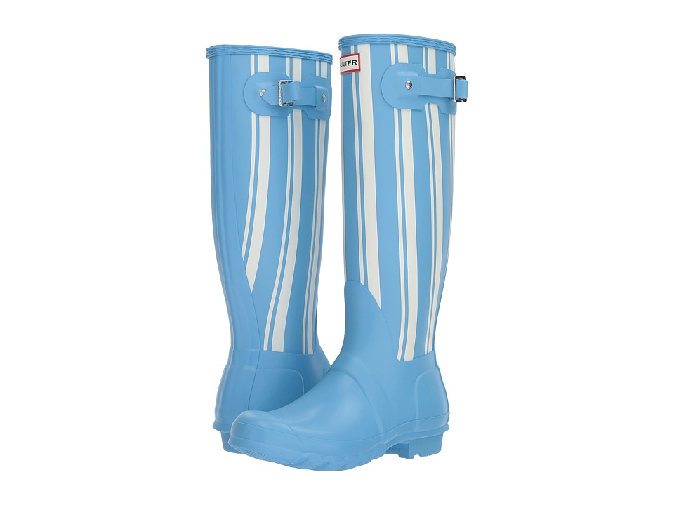 Hunter Original Garden Stripe Tall Rain Boots (Forget Me Not/White) Women