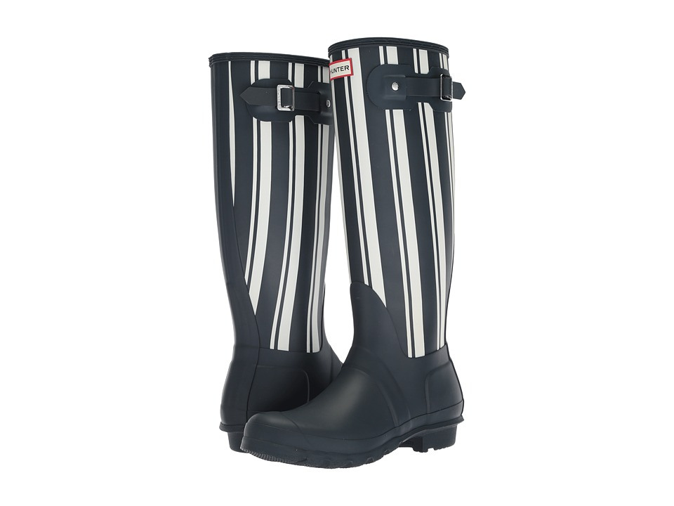 Hunter Original Garden Stripe Tall Rain Boots (Navy/White) Women