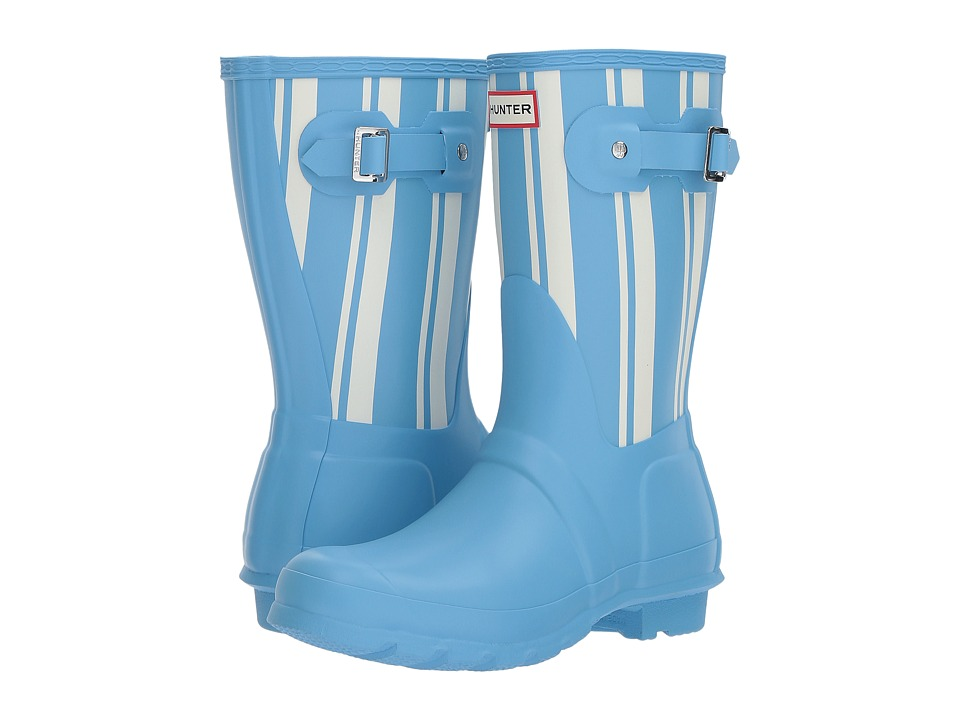 Hunter Original Garden Stripe Short Rain Boots (Forget Me Not/White) Women