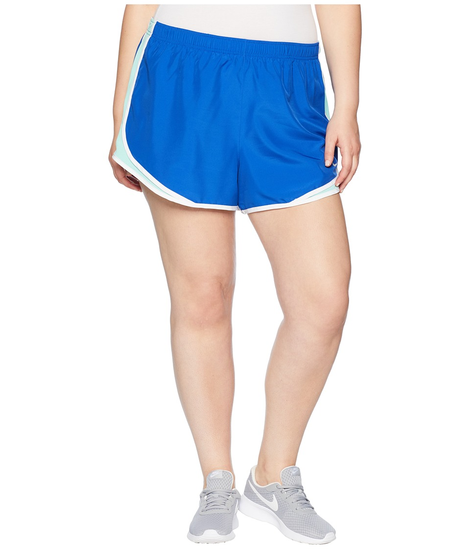 Nike Dry Tempo 3 Running Short (Size 1X-3X) (Game Royal/Emerald Rise/White/Wolf Grey) Women