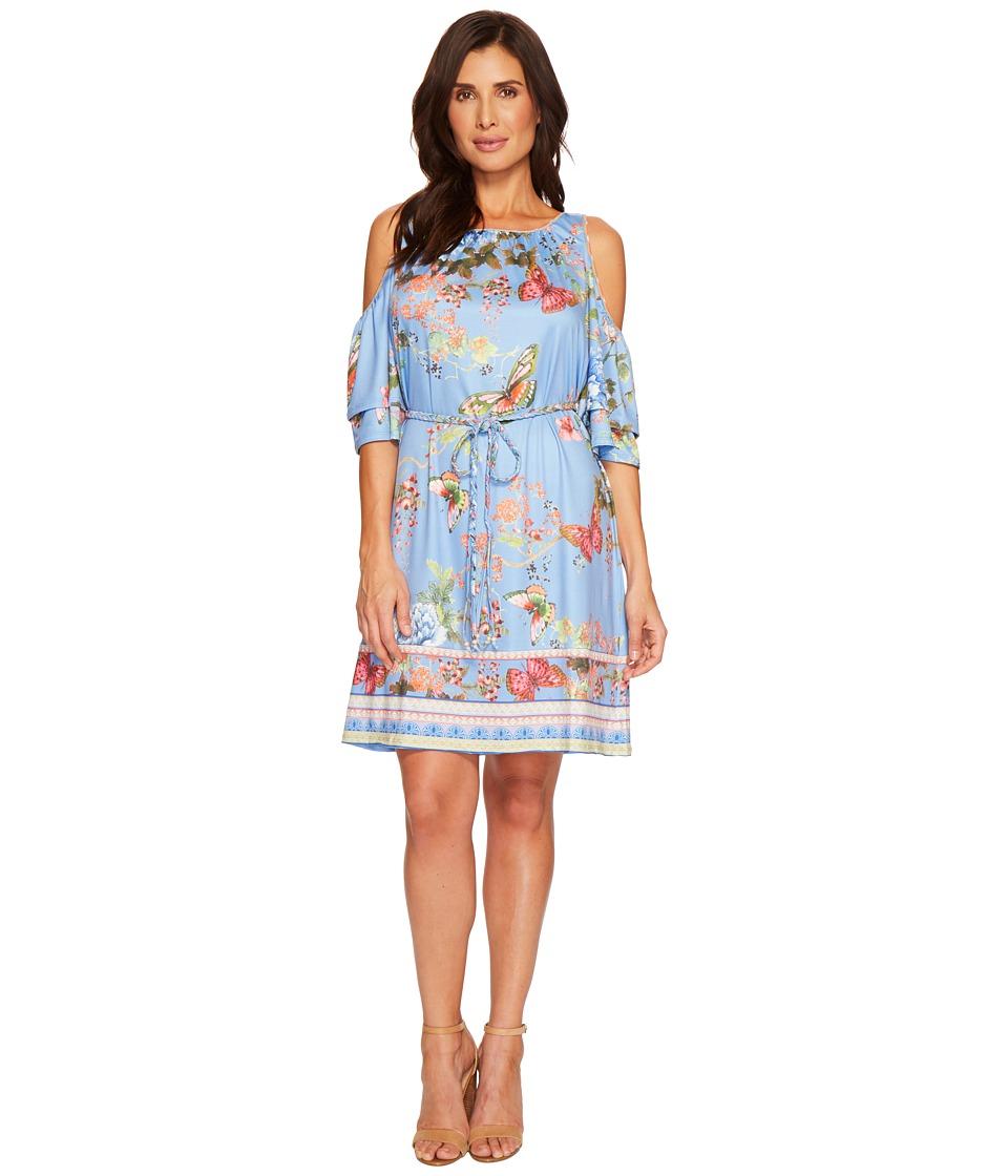 Hale Bob - Petal Pusher Matte Microfiber Jersey Dress (Blue) Womens Dress