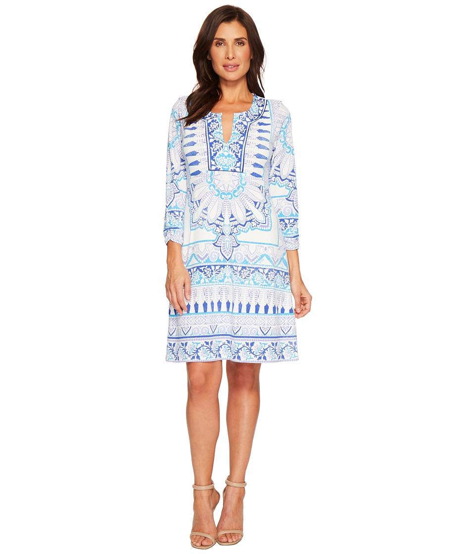 Hale Bob - Bright New World Matte Microfiber Jersey Dress (Blue) Womens Dress