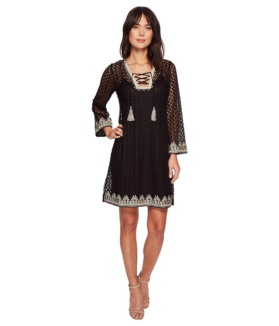 Hale Bob - Line in the Sand Knit Crochet Lace-Up Dress (Black) Womens Dress