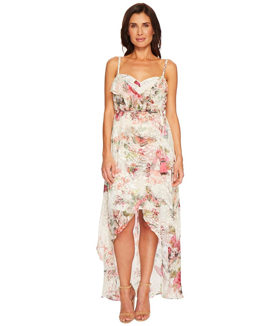 Hale Bob - Petal Pusher Satin Burnout Wrap Dress (Ivory) Womens Dress