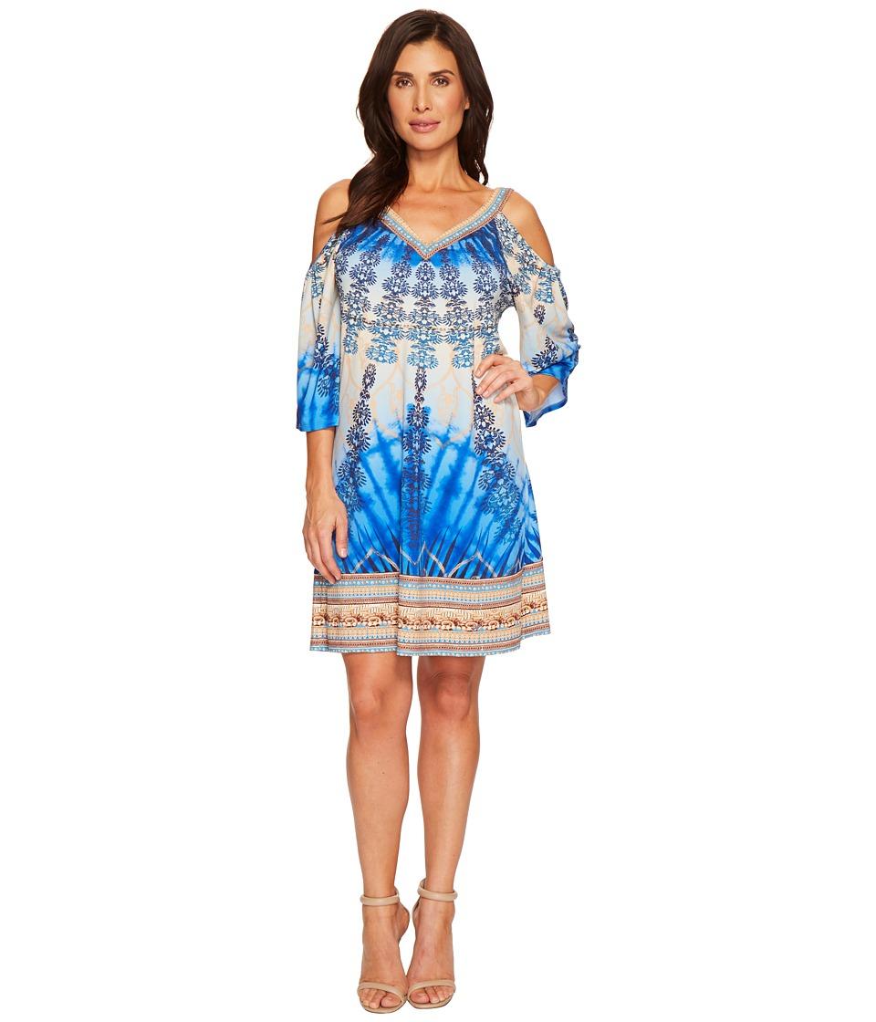 Hale Bob - Rare Origin Matt Microfiber Jersey Cold Shoulder Dress (Cobalt) Womens Dress