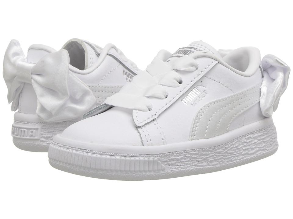 Puma Kids Basket Bow AC INF (Toddler) (White) Girls Shoes