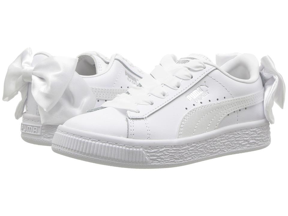 Puma Kids Basket Bow AC PS (Little Kid/Big Kid) (White) Girls Shoes