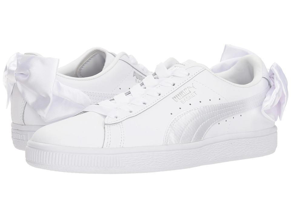 Puma Kids Basket Bow Jr (Big Kid) (White) Girls Shoes