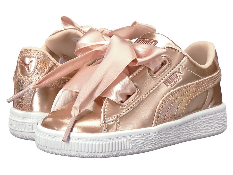 Puma Kids Basket Heart Lunar Lux INF (Toddler) (Cream Tan) Girls Shoes