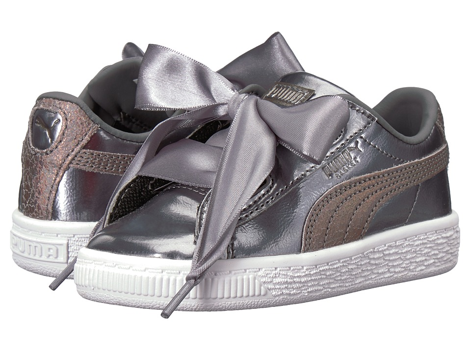 Puma Kids Basket Heart Lunar Lux INF (Toddler) (Smoked Pearl) Girls Shoes