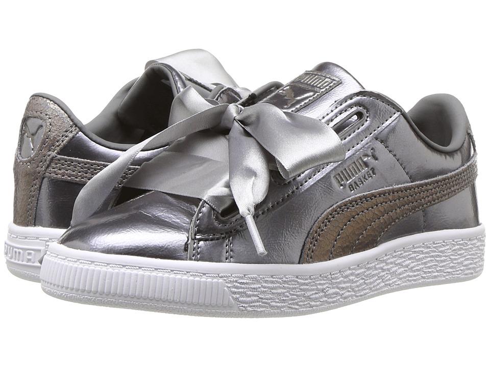 Puma Kids Basket Heart Lunar Lux PS (Little Kid/Big Kid) (Smoked Pearl) Girls Shoes