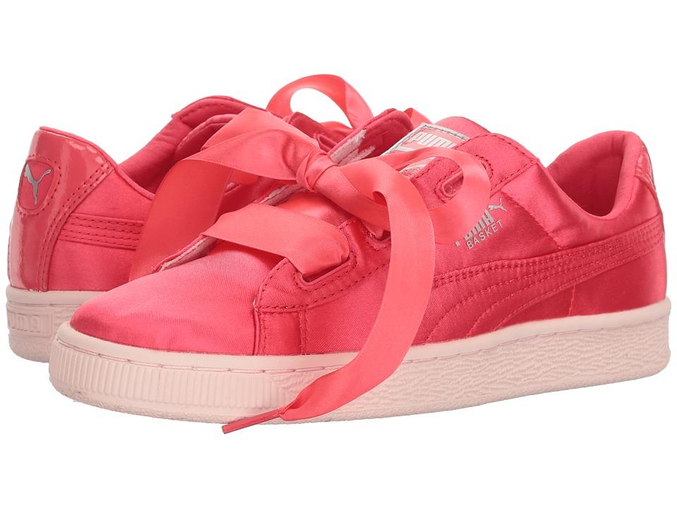 Puma Kids Basket Heart Tween Jr (Big Kid) (Paradise Pink) Girls Shoes