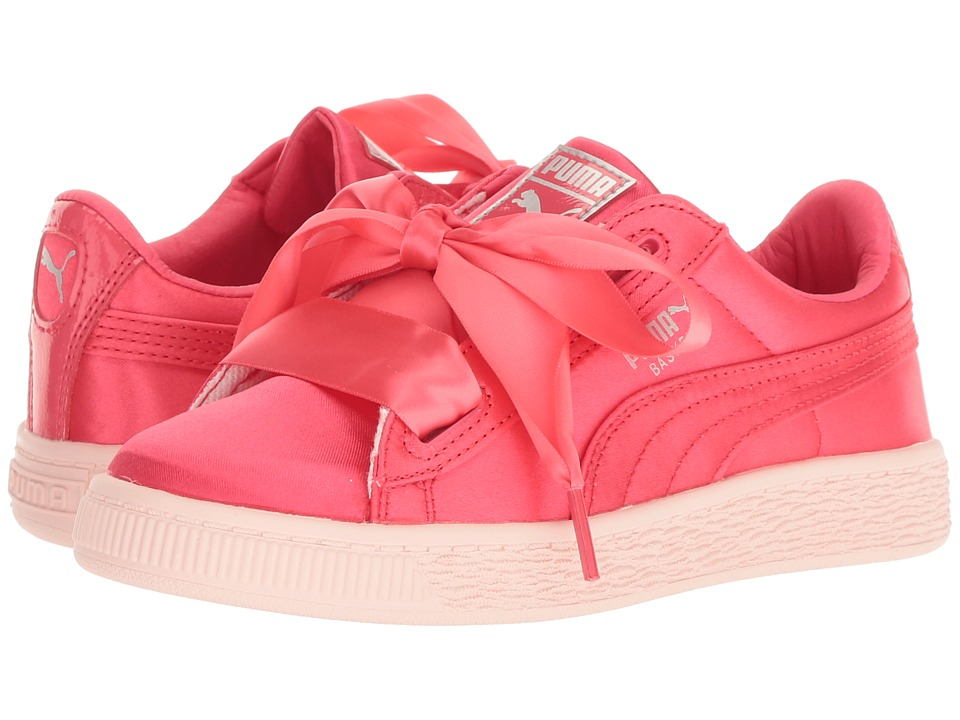 Puma Kids Basket Heart Tween PS (Little Kid/Big Kid) (Paradise Pink) Girls Shoes