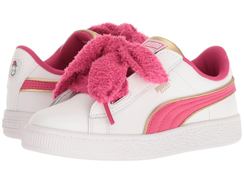 Puma Kids - Minions Basket Heart Fluffy PS (Little Kid/Big Kid) (White/Beetroot) Girls Shoes