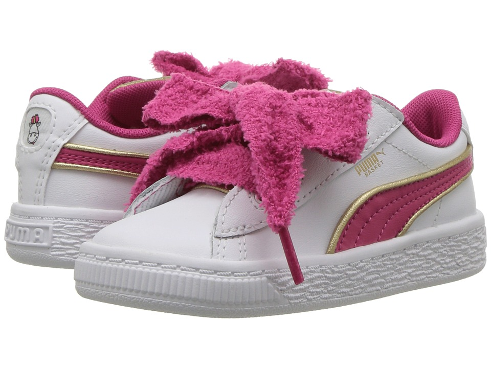 Puma Kids Minions Basket Heart Fluffy INF (Toddler) (White/Beetroot) Girls Shoes