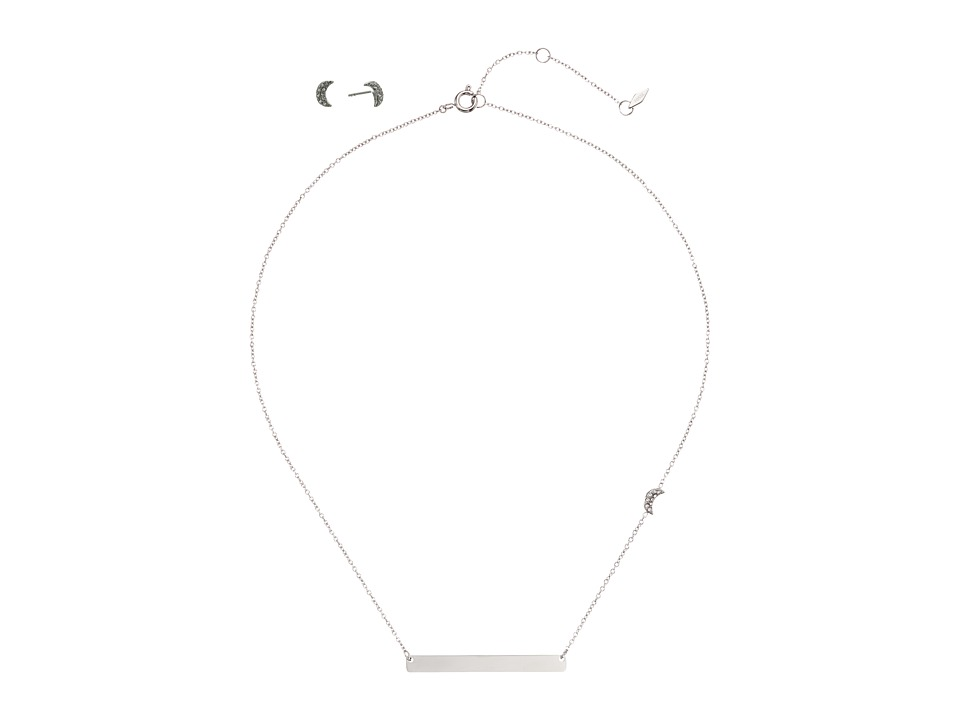 Fossil - Moon Pave Studs and Engravable Plaque Necklace Gift Set (Silver) Necklace