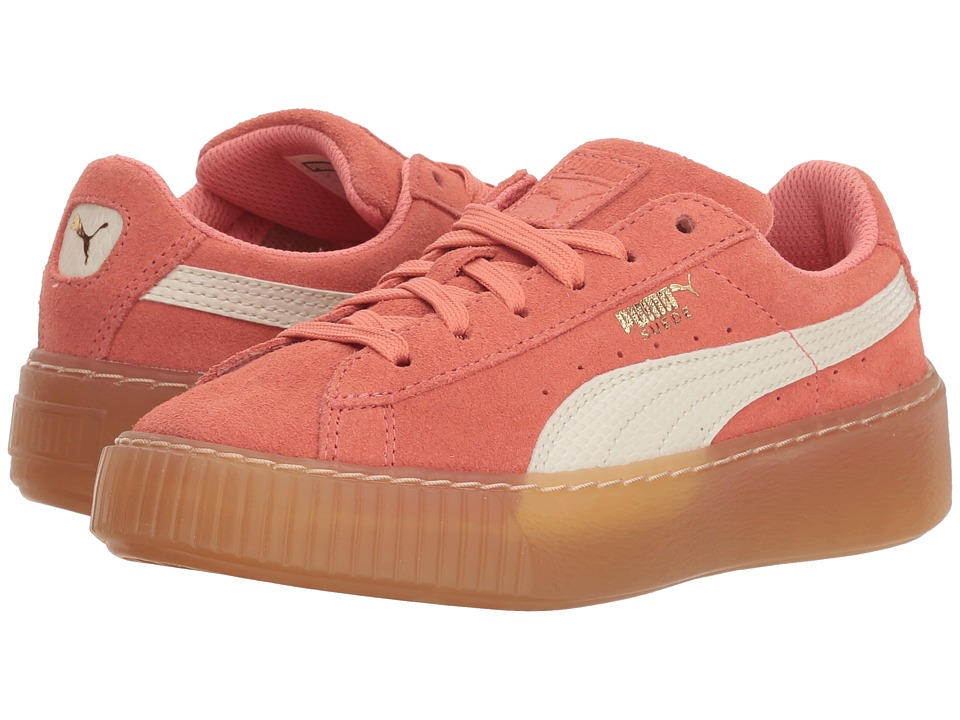Puma Kids - Suede Platform SNK (Little Kid/Big Kid) (Shell Pink/Whisper White) Girls Shoes