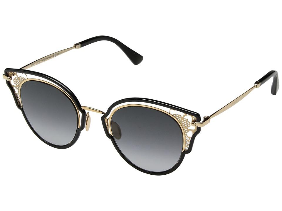 Jimmy Choo - Dhelia/S (Black Gold/Brown Gradient Mirror) Fashion Sunglasses