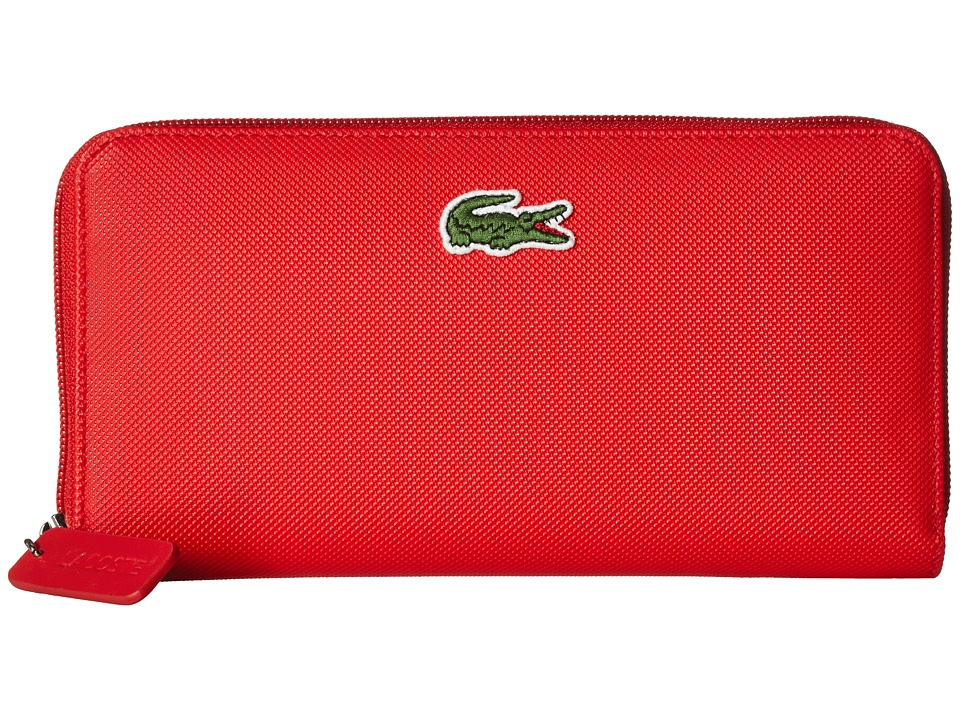 Lacoste - L.12.12 Concept Large Zip Wallet (High Risk Red) Wallet Handbags
