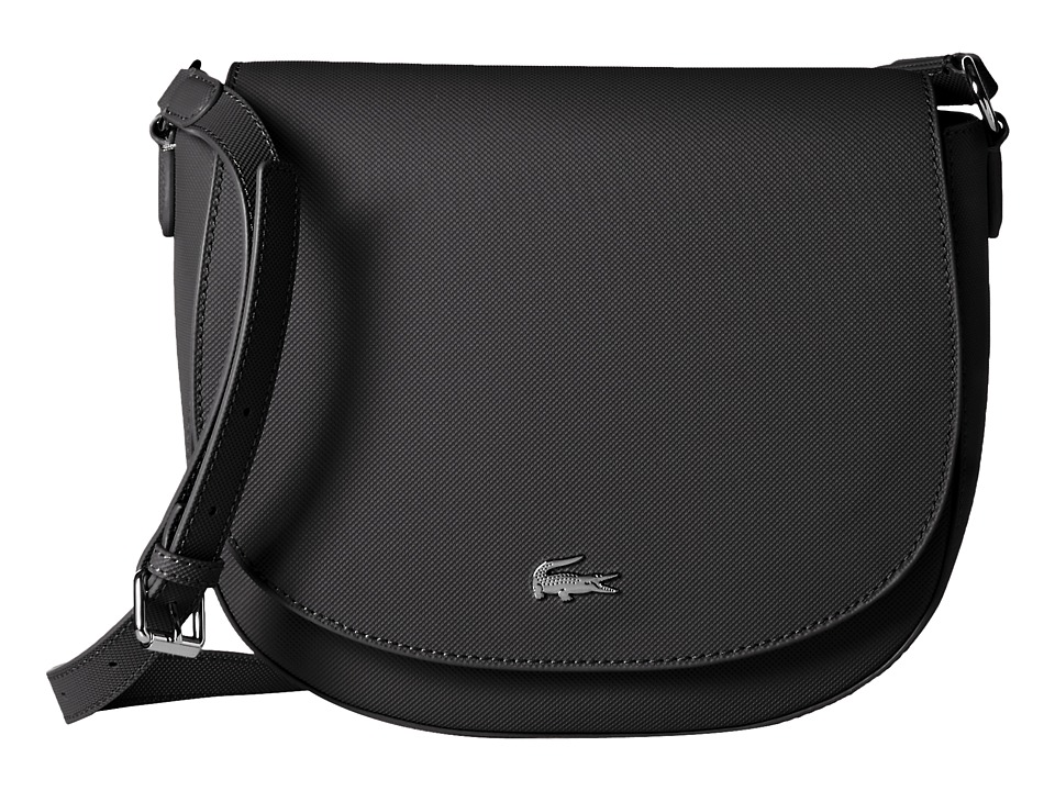 Lacoste - Daily Classic Large Round Crossbody (Black) Cross Body Handbags