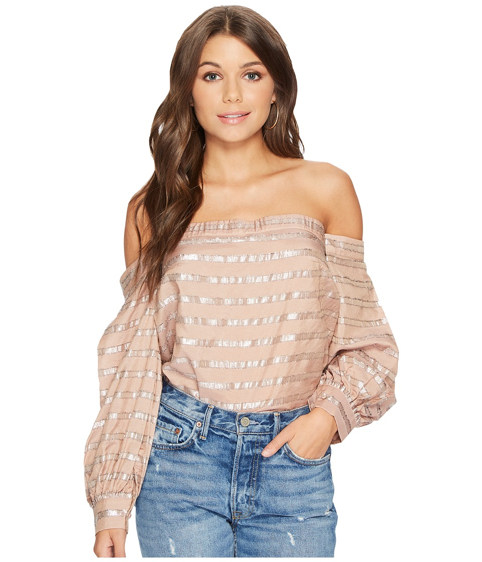 1.STATE - Off Shoulder Voluminous Sleeve Blouse (Taupe Sh...
