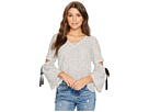 1.STATE Long Sleeve V-Neck Slit Sleeve Top with Ties