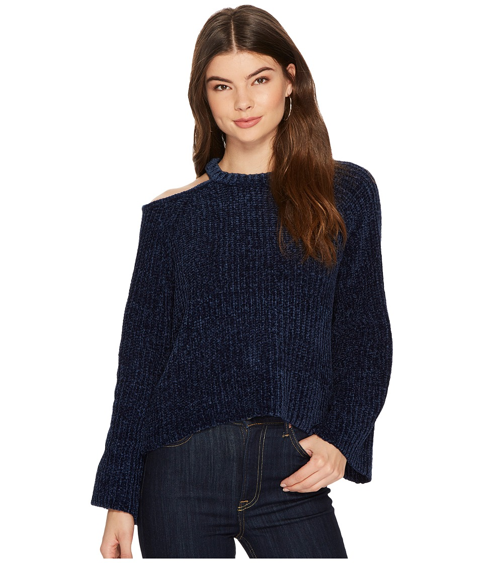 Image of 1.STATE - Bell Sleeve Sweater with Shoulder Cut Out (Dark Nightfall) Women's Sweater