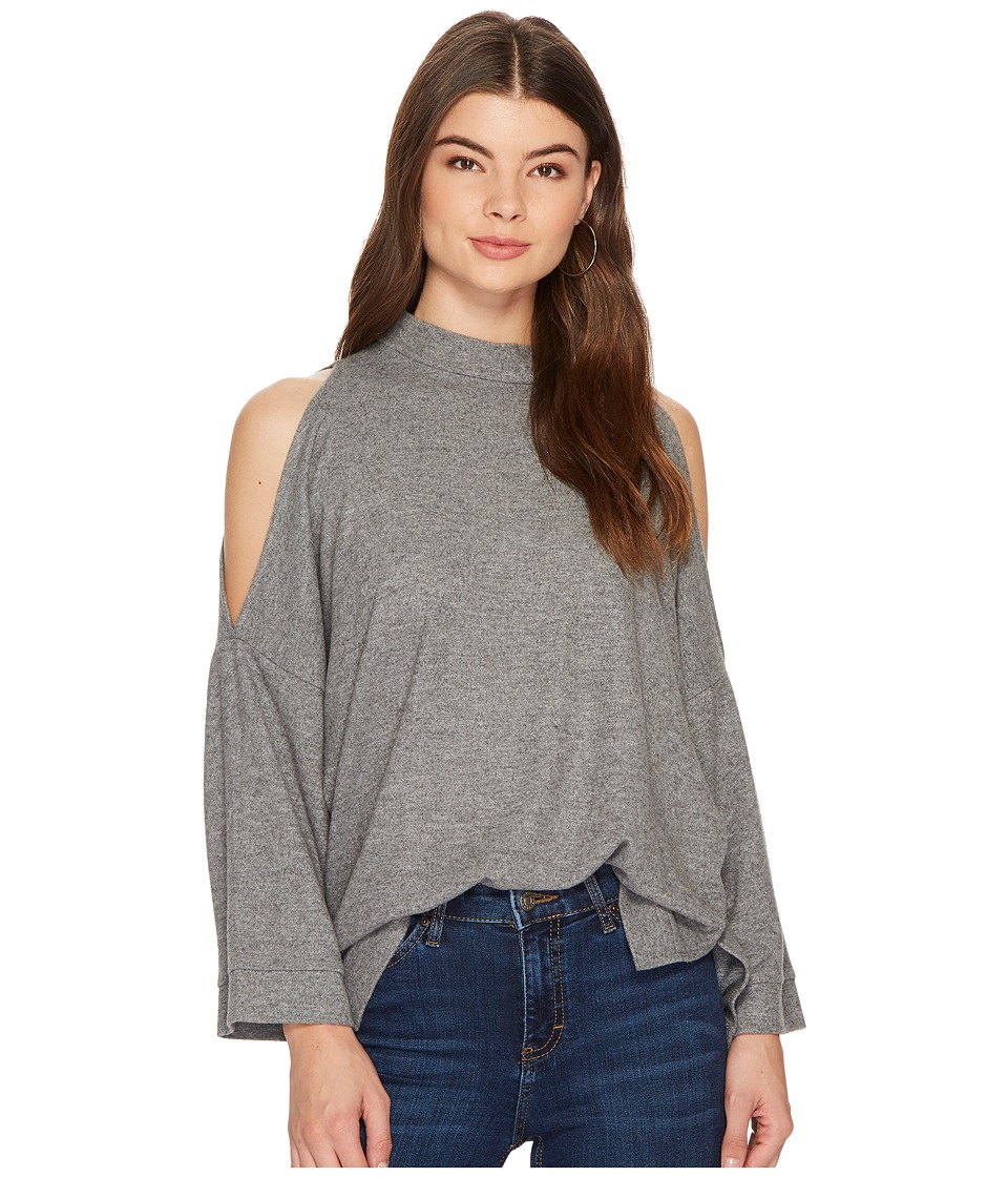 1.STATE - 3/4 Sleeve Cold Shoulder Top (Pewter Heather) Womens Clothing