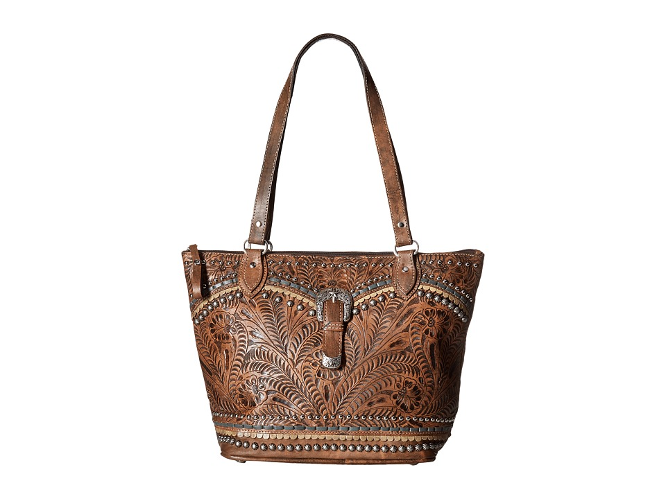 American West Blue Ridge Zip Top Tote (Distressed Charcoa...