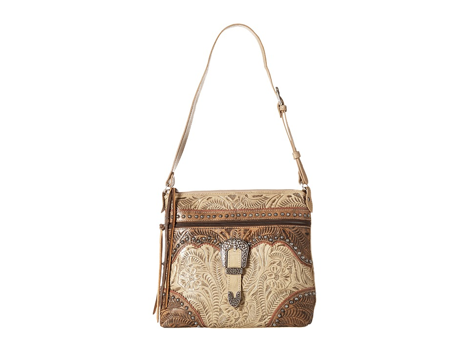 American West - Saddle Ridge Zip Top Shoulder Bag (Sand/Distressed Charcoal Brown/Dusty Rose) Shoulder Handbags