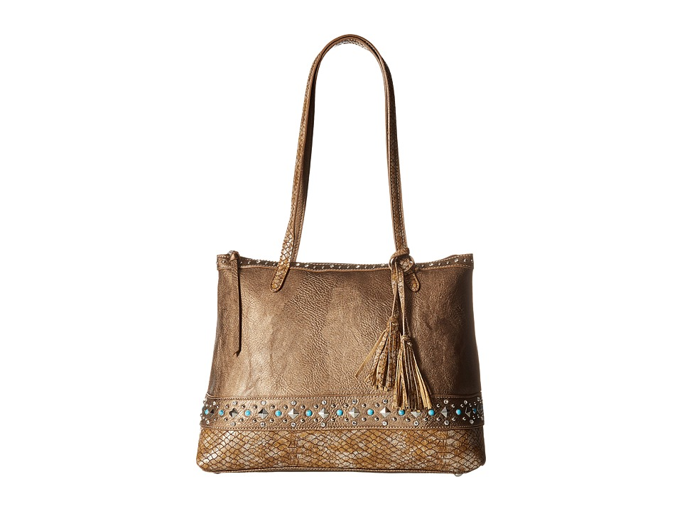 American West - Guns And Roses Zip Top Tote w/ Secret Compartment (Metallic) Tote Handbags