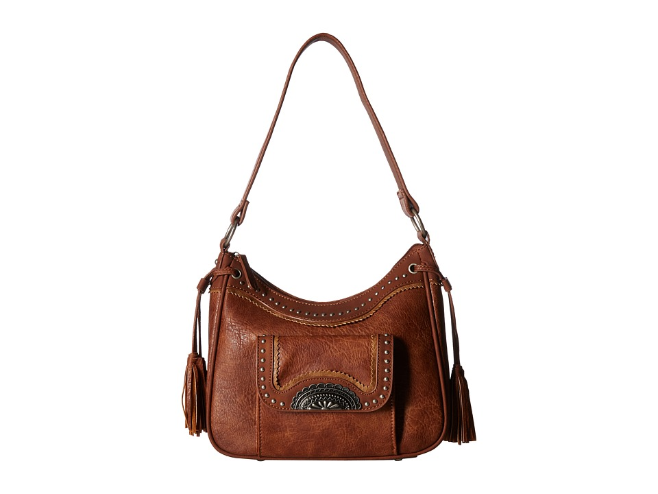 American West - Guns and Roses Zip Top Shoulder Bag w/ Secret Compartment (Copper) Shoulder Handbags