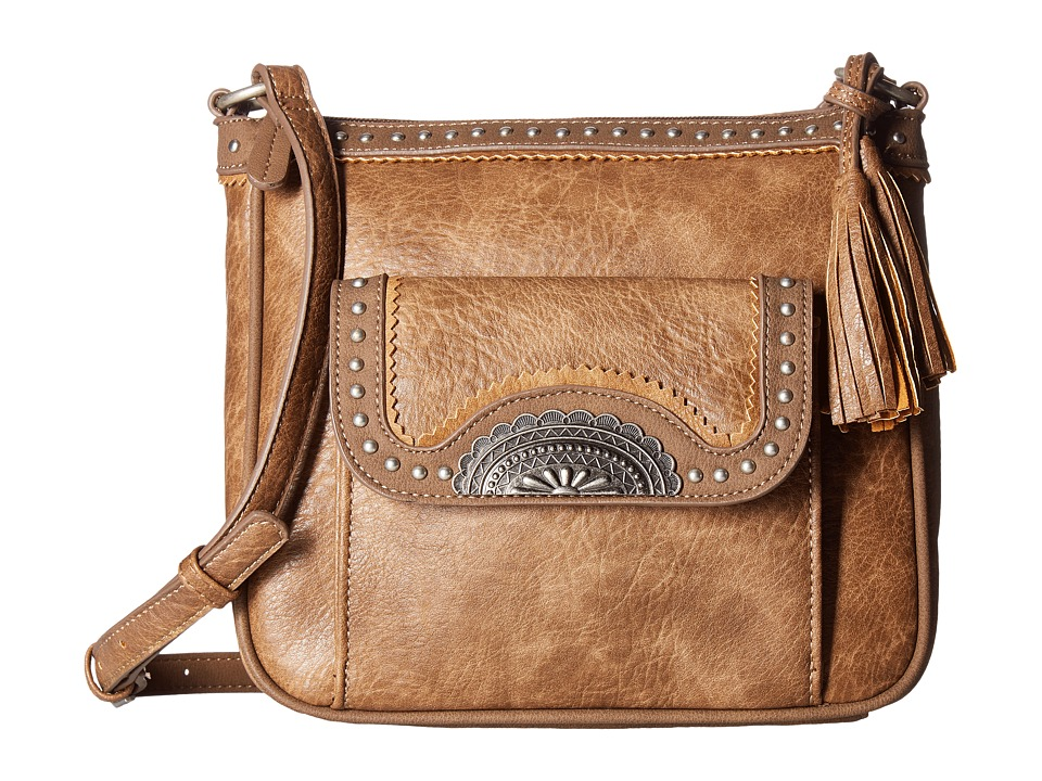 American West - Guns and Roses Crossbody w/ Secret Compartment (Mocha) Cross Body Handbags