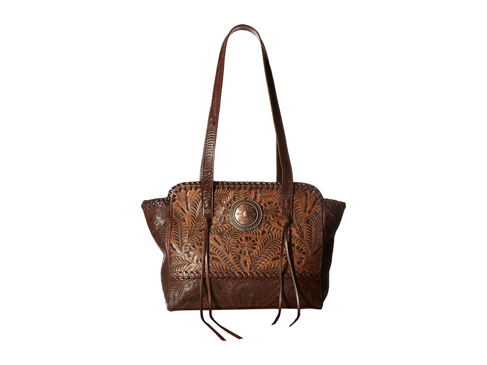Image of American West - Annie's Secret Zip Top Tote w/ Secret Compartment (Distressed Charcoal Brown/Chestnut Brown) Tote Handbags