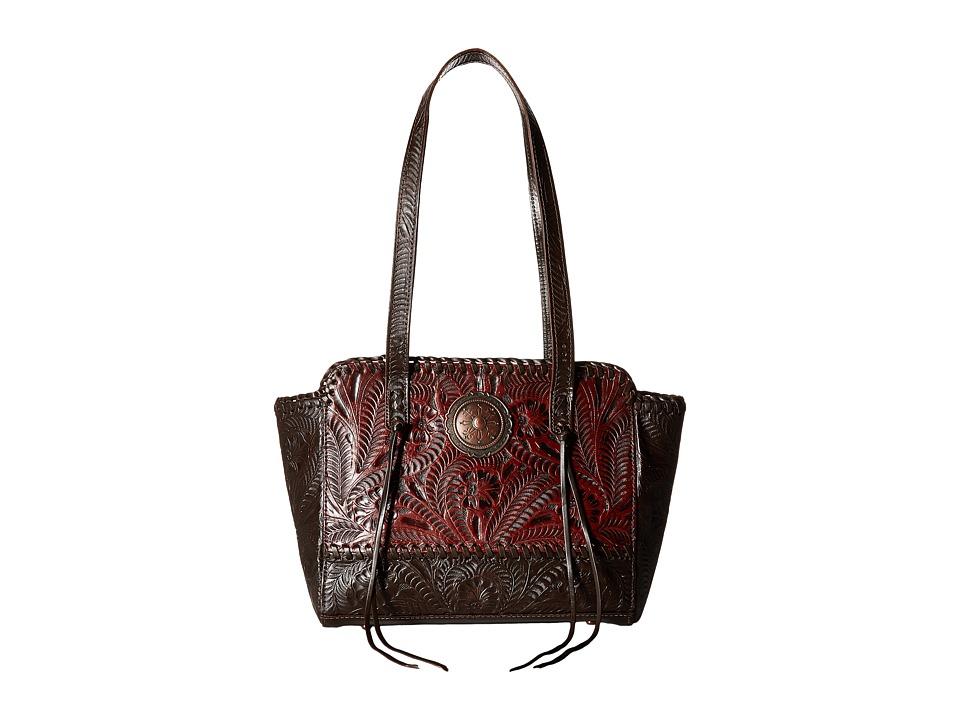 Image of American West - Annie's Secret Zip Top Tote w/ Secret Compartment (Distressed Crimson/Chocolate) Tote Handbags