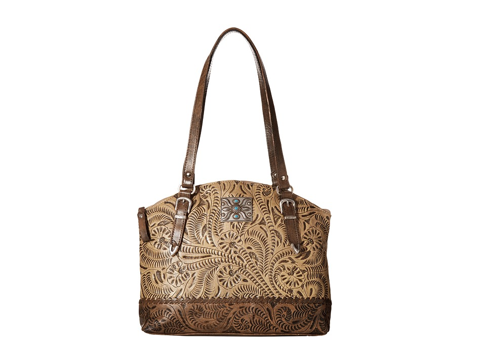 Image of American West - Annie's Secret Zip Top Half Moon Tote w/ Secret Compartment (Sand/Distressed Charcoal Brown) Tote Handbags