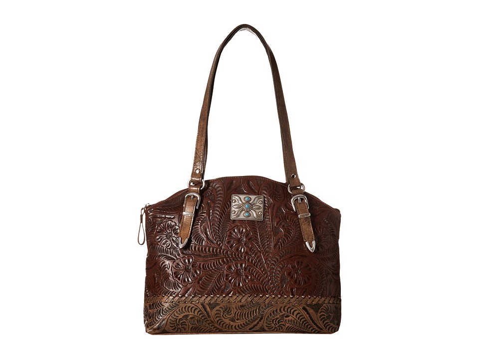 Image of American West - Annie's Secret Zip Top Half Moon Tote w/ Secret Compartment (Chestnut Brown/Distressed Charcoal Brown) Tote Handbags