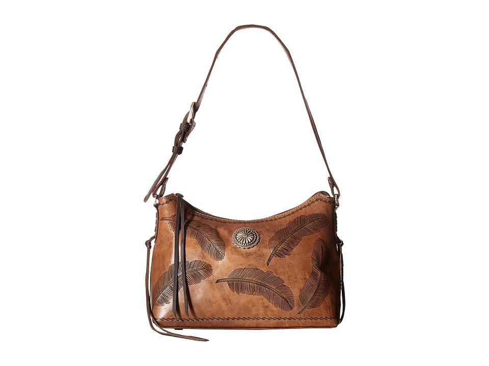 American West - Sacred Bird Zip Top Shoulder Bag (Distressed Charcoal Brown) Shoulder Handbags