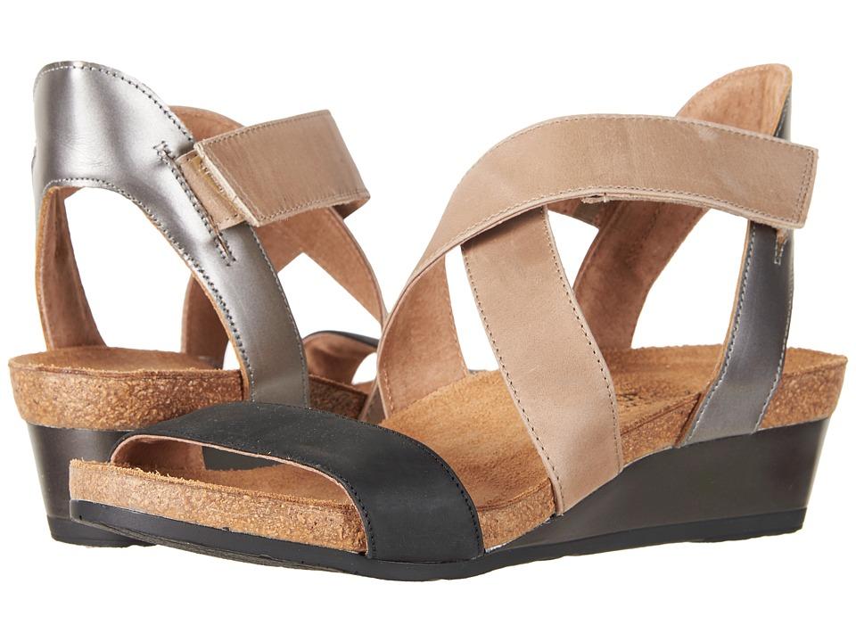 Naot Vixen (Oily Coal Nubuck/Khaki/Beige Leather/Mirror Leather) Women's Shoes