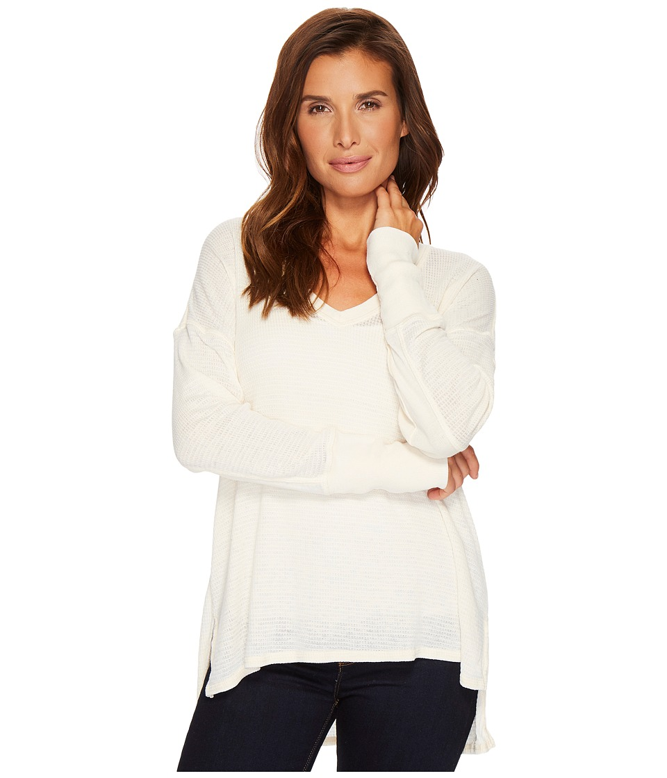 Project Social T - Sawyer Burnout Thermal Top (Vanilla) Womens Long Sleeve Pullover