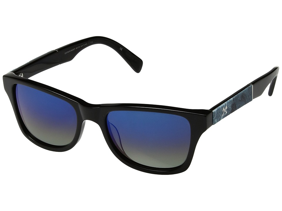Shwood - Canby (Black/Shaper Studio Midnight Surf Resin/Blue Flash Polarized) Sport Sunglasses