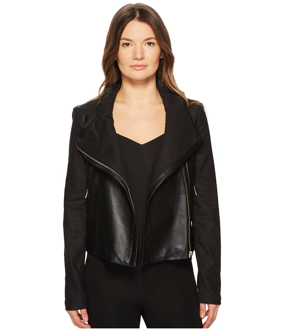 LAMARQUE - Amata Linen Leather Funnel Jacket (Black) Womens Coat