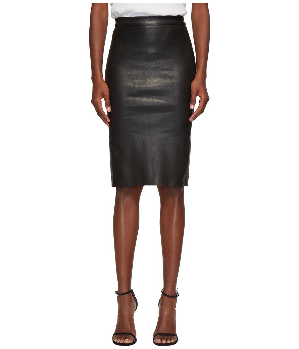 Lamarque Avana Essential Stretch Leather Tube Skirt (Blac...